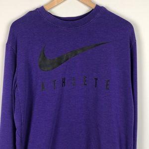 Nike Dri-Fit Long Sleeve Training Top Purple Large